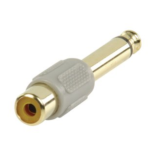 Mono-Audio-Adapter 6.35 mm male - RCA female Grau