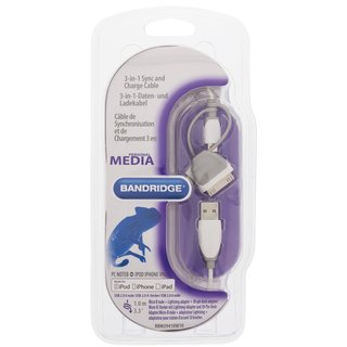 3-in-1-Sync und Ladekabel USB A male - Micro-B male 1.00 m Weiss