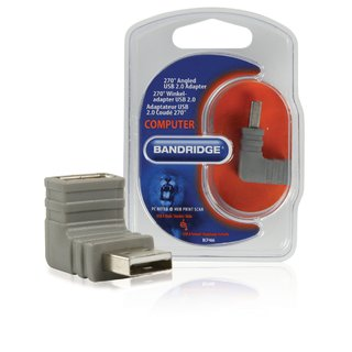 USB 2.0 Adapter 270° abgewinkelt USB A male - USB A female Grau