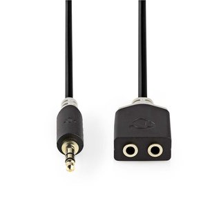 Stereo Audiokabel | 3,5-mm-Stecker  -  2x 3,5-mm-Buchse | 0,2 m | Anthrazit